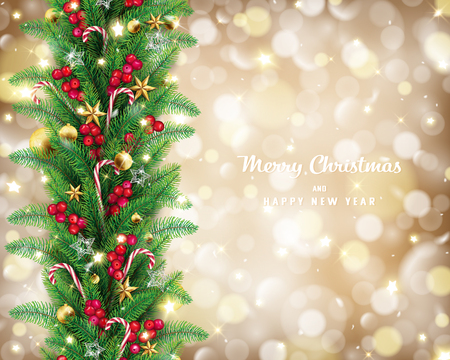 Christmas garland in golden bokeh background conception,it has free space on the right hand side and lettering quote,fairy stars are carrying by the wind twinkle along 向量圖像