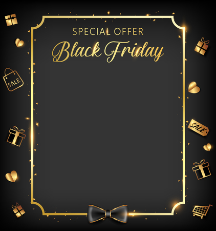 Black Friday banner with golden ornaments icon conception 向量圖像