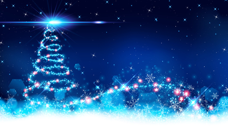 abstract of christmas tree background on blue space,a stardust line swirling start from bottom to top then made a explosion and shining a big flare on apex point.