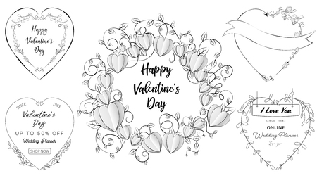 Doodle heart banners set of Valentine and Wedding elements