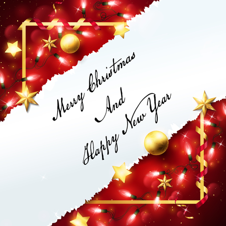 Christmas banner decorated in red background and red fairy lights on the corner,the middle leave a copy space area on the white torn paper and example text