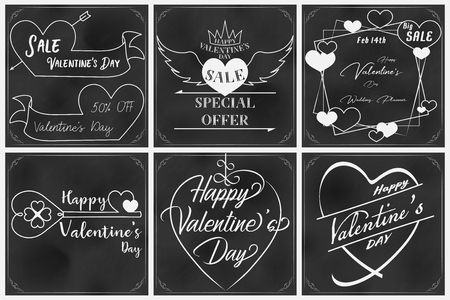 Valentine chalkboard art with sixth elements such as price tag,note paper and typography each element has a unique content and included same border and blackboard pattern