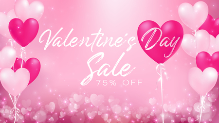 valentines day sale banner represent as celebration of a loves day with pastel colors