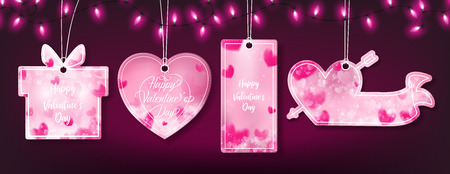 Valentines banner with four templates such as gift box,heart,rectangle and flag of sweet theme and top has decorated with luxury pink string lights pattern,the lights line repeat at horizontal strip