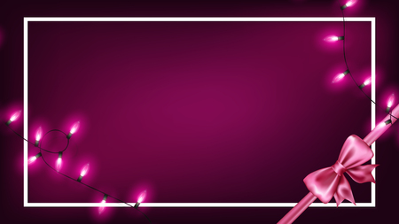 Valentines day illumination string lights with dark purple background rounding by white border and realistic pink ribbon