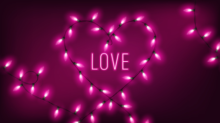 pink fairy lights in heart shape hang on dark background with neon text 向量圖像