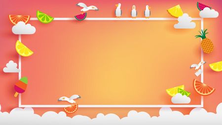 paper craft of Summer background with fruits on orange ray light background and rounding by white border