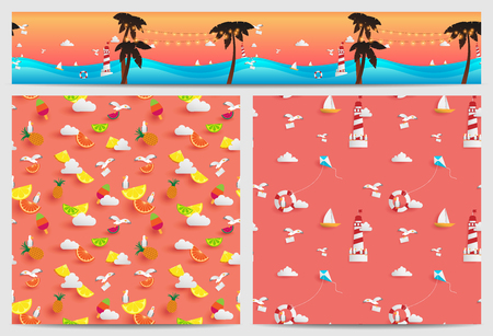 Pattern of summer decorated in square and parallax tile they are consist of paper craft elements such as beach ,fruits,boat and sunset ray light color.