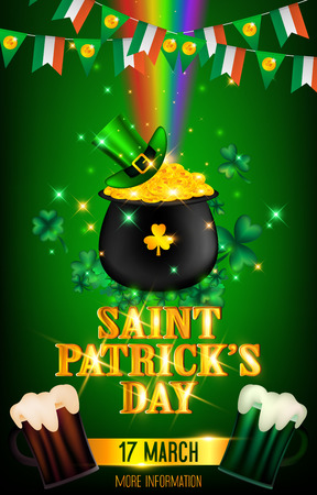 Poster of Saint Patricks Day presented in green and golden tones.In side consist of a rainbow point to the black pot full of gold coins covered with green high hat and rounding by tiny particle magic