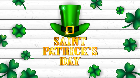 Saint Patricks Day background on white plank contain shamrocks around golden text and green high hat