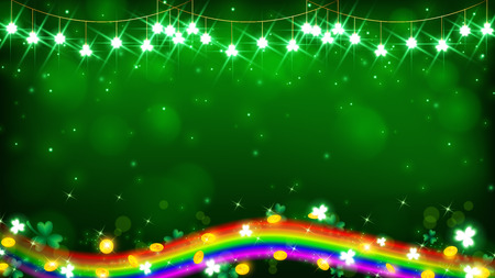 fairy light on green tone and a rainbow   line on saint Patricks day conception, background included golden coins and magic particles 向量圖像