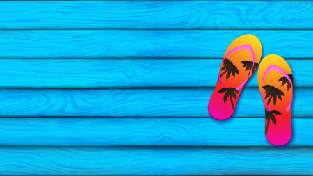 Blue sky plank board represent at summer season decorated by slippers over the board on the right hand side, slippers color tone is sunset gradient and silhouette of coconut trees Illustration