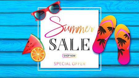 summer banner with light blue planks wood decorated by summer elements such as red sunglasses, colorful of slippers ,fruit and summer typography in special offer season Illustration