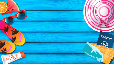 Summer background for advertising banner included summer elements are fruits ,slippers ,sun hate, sun cream, passport, air tickets and sunglasses. all elements put on the left and right over board Illustration