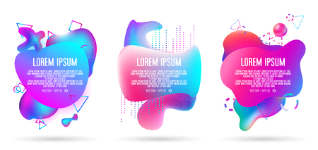 abstract of liquid 3d banner in three sets ,all elements of art work contain colorful gradients 向量圖像