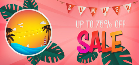 template of special offer in summer season included pink background and die cut on the left hand side,inside circle consist of sunset over the sea with silhouette of coconut tree.