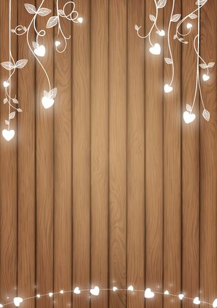 La concezione romantica dello sfondo includeva tavole di legno marrone e cuore bianco incandescente come stile di viti scarabocchiate