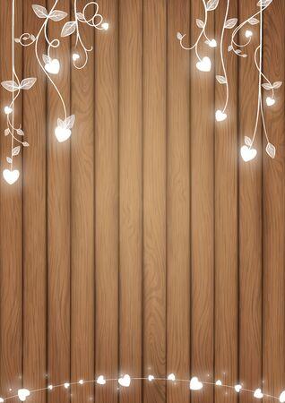 Romantische achtergrondconceptie omvatte bruine houten planken en wit gloeiend hart als doodle-wijnstokkenstijl