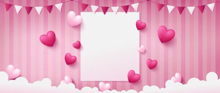 banner of sweet pink background consist two tone of realist heart shapes located beside paper in middle and paper craft stuffs are bunting and clouds