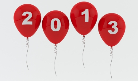 Red Balloons 2013 - New year Stock Photo - 17464053