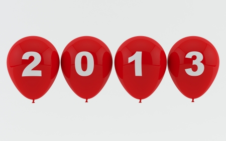 Red Balloons 2013 - New year Stock Photo - 17464036
