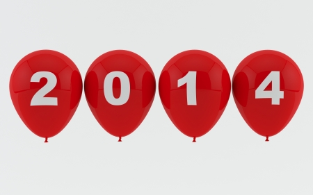 Red Balloons 2014 - New year Stock Photo - 17464034
