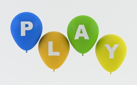 Party balloons spelling Play  photo