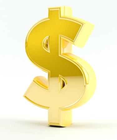 Teken van de dollar gegenereerd in 3D - Goud