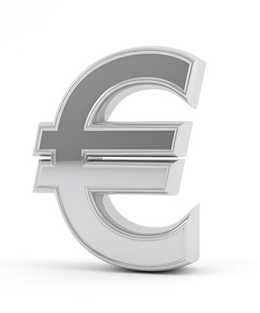welth: Euro sign in chrome Stock Photo