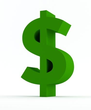 달러: 고립 된 녹색 달러 기호