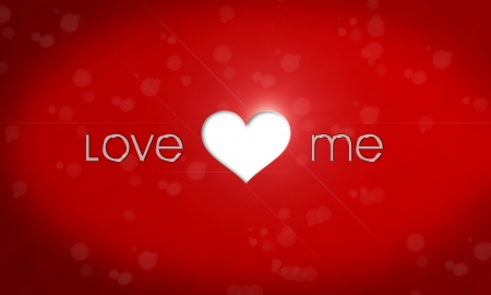 Love me metallic text and heart photo