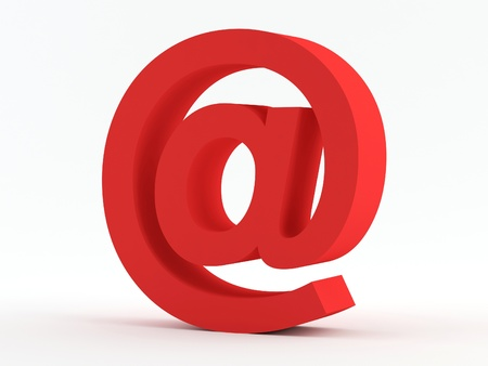 Red @ e-mail sign Standard-Bild