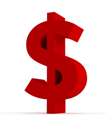 Red Dollar sign isolated
