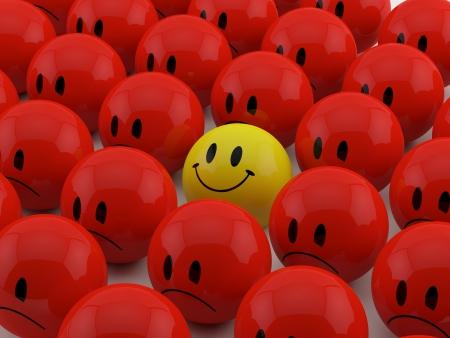 Gelukkig smiliey onder rode droevige smilies
