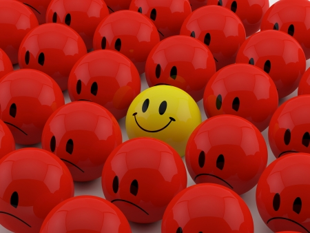 Happy Smiliey among red sad smilies