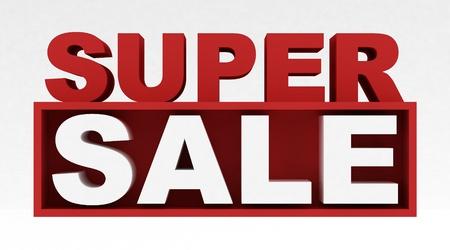 Super sale text in 3D  Standard-Bild