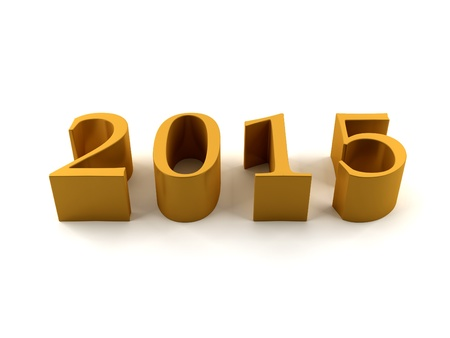 Golden 2015 on white background photo