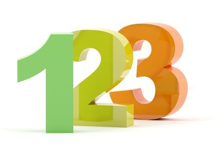 123 numbers in color Standard-Bild
