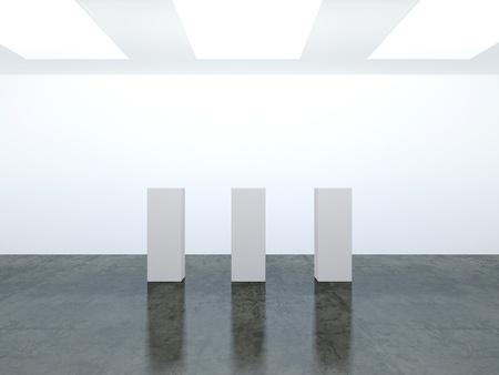 marble flooring: 3D stanza vuota di bianco con pavimenti in marmo Archivio Fotografico