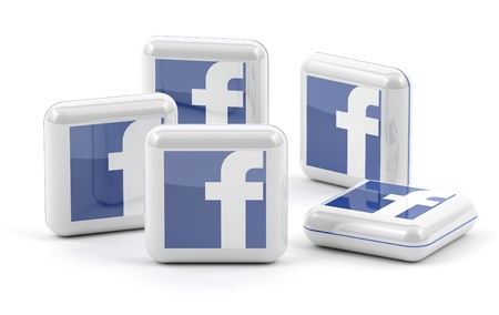 Facebook knoppen geïsoleerd op witte achtergrond Redactioneel