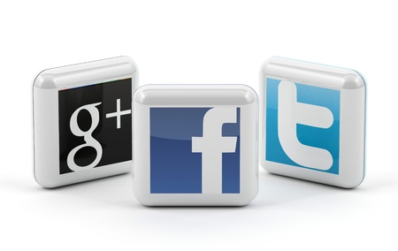 Social media buttons - Facebook, twitter and Google Editorial