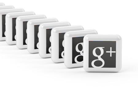 google plus: Google Plus bot�n aislado sobre fondo blanco