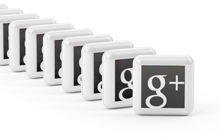 Google  Plus button isolated on white background