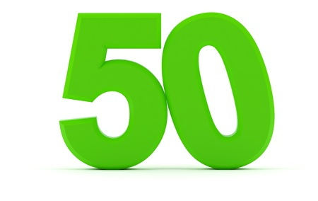 Nummer 50 met gekantelde nul