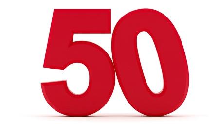 Number 50 with tilted zero Standard-Bild