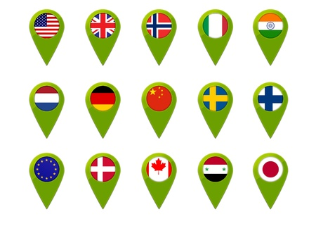 Map pins  with world flags Stock Photo - 19480202