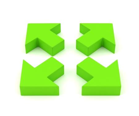 Groene pijlen uitbreiden Stockfoto