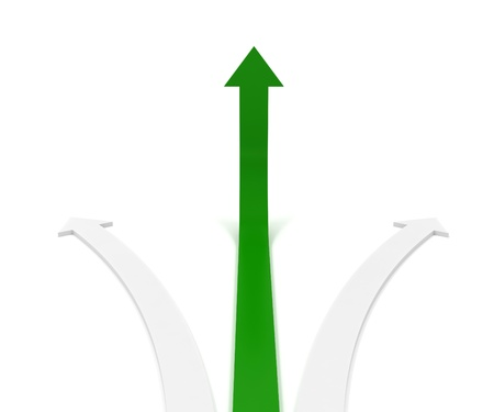 right path: Green arrow going up symbolizing growth or right path