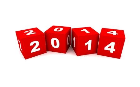 Nieuwe jaar 2014 kubussen Stockfoto