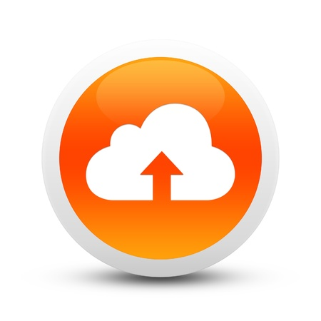 net bar: Glossy upload cloud button Stock Photo